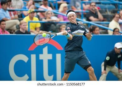 WASHINGTON – AUGUST 3: Kei Nishikori (JPN) falls to Alexander Zverev (GER) at the Citi Open tennis tournament on August 3, 2018 in Washington DC