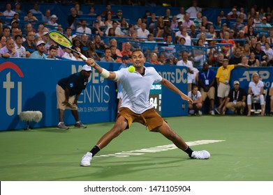 WASHINGTON – AUGUST 3: Nick Kyrgios (AUS)  defeats Stefanos Tsitsipas (GRE, not pictured) in the semifinal round at the Citi Open tennis tournament on August 3, 2019 in Washington DC