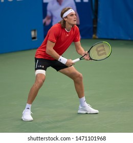 WASHINGTON – AUGUST 3: Stefanos Tsitsipas (GRE) falls to Nick Kyrgios (AUS, not pictured) at the Citi Open tennis tournament on August 3, 2019 in Washington DC