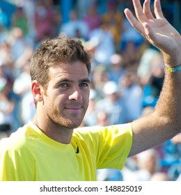 WASHINGTON - AUGUST  4, 2013:  Juan Martin del Potro (ARG) after taking the title of  mens singles champion of the Citi Open tennis tournament on August 4, 2013 in Washington