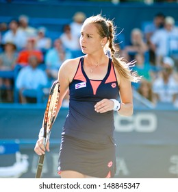 WASHINGTON - AUGUST  4, 2013:  Magdalena Rybarikova (SVK)  defeats Andrea Petkovic (GER, not pictured) during the women's finals of the Citi Open tennis tournament on August 4, 2013 in Washington