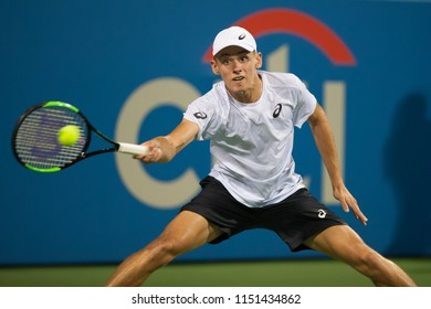 WASHINGTON – AUGUST 4: Alex de Minaur (AUS) defeats Andrey Rublev (RUS) in the semifinals of the Citi Open tennis tournament on August 4, 2018 in Washington DC
