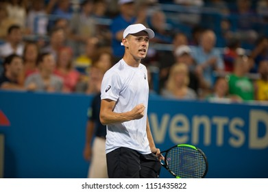 WASHINGTON – AUGUST 4: Alex de Minaur (AUS) celebrates his win over Andrey Rublev (RUS) in the semifinals of the Citi Open tennis tournament on August 4, 2018 in Washington DC