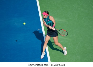 WASHINGTON – AUGUST 4: Andrea Petkovic (GER) falls to Svetlana Kuznetsova (RUS) at the Citi Open tennis tournament on August 4, 2018 in Washington DC