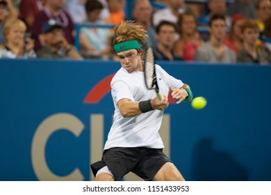 WASHINGTON – AUGUST 4: Andrey Rublev (RUS) falls to Alex de Minaur (AUS) in the semifinals of of the Citi Open tennis tournament on August 4, 2018 in Washington DC