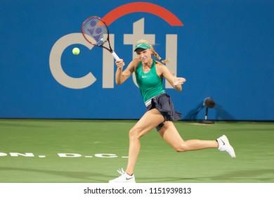 WASHINGTON – AUGUST 4: Donna Vekic (CRO) defeats Saisai Zheng (CHN) in the semifinals of the Citi Open tennis tournament on August 4, 2018 in Washington DC