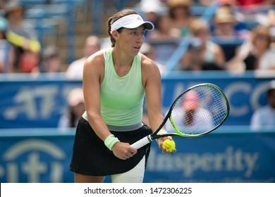 WASHINGTON – AUGUST 4: Jessica Pegula (USA) defeats Camila Giorgi (ITA, not pictured) to win the women's championship at the Citi Open tennis tournament on August 4, 2019 in Washington DC