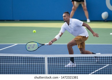 WASHINGTON – AUGUST 4: Nick Kyrgios (AUS)  defeats Daniil Medvedev (RUS, not pictured) to take the championship at the Citi Open tennis tournament on August 4, 2019 in Washington DC