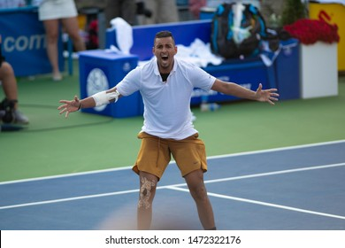 WASHINGTON – AUGUST 4: Nick Kyrgios (AUS) reacts to defeating Daniil Medvedev (RUS, not pictured) to take the championship at the Citi Open tennis tournament on August 4, 2019 in Washington DC