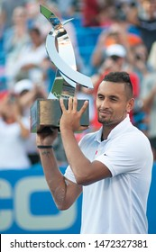 WASHINGTON – AUGUST 4: Nick Kyrgios (AUS) receives his trophy after winning the championship at the Citi Open tennis tournament on August 4, 2019 in Washington DC