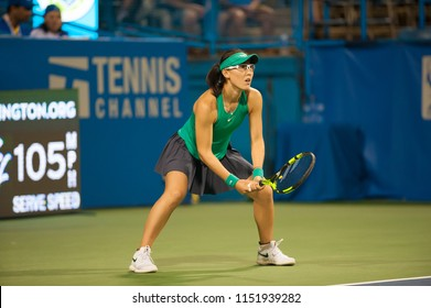 WASHINGTON – AUGUST 4: Saisai Zheng (CHN) falls to Donna Vekic (CRO) in the semifinals of the Citi Open tennis tournament on August 4, 2018 in Washington DC