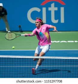 WASHINGTON – AUGUST 4: Stefanos Tsitsipas (GRE) falls to Alexander Zverev (GER) at the Citi Open tennis tournament on August 4, 2018 in Washington DC