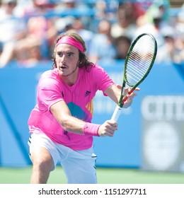 WASHINGTON – AUGUST 4: Stefanos Tsitsipas (GRE) falls to Alexander Zverev (GER) at the Citi Open tennis tournament on August 4, 2018 in Washington DC