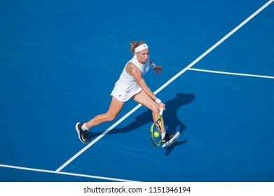 WASHINGTON – AUGUST 4: Svetlana Kuznetsova (RUS) defeats Andrea Petkovic (GER) at the Citi Open tennis tournament on August 4, 2018 in Washington DC