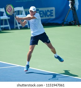 """WASHINGTON – AUGUST 5: Alex de Minaur (AUS) falls to Alexander """"Sascha"""" Zverev (GER) during the final round of the Citi Open tennis tournament on August 5, 2018 in Washington DC"""