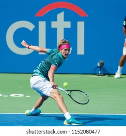 "WASHINGTON – AUGUST 5: Alexander ""Sascha"" Zverev (GER) defeats Alex de Minaur (AUS) to take the championship at the Citi Open tennis tournament on August 5, 2018 in Washington DC"