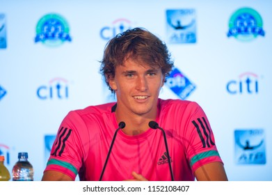 """WASHINGTON – AUGUST 5: Alexander """"Sascha"""" Zverev (GER) talks to reporters after taking the championship at the Citi Open tennis tournament on August 5, 2018 in Washington DC"""