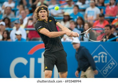 WASHINGTON – AUGUST 5: Alexander Zverev (GER) defeats Kei Nishikori (JPN, not pictured)  at the Citi Open tennis tournament on August 5, 2017 in Washington DC