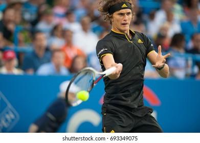 WASHINGTON – AUGUST 5: Alexander Zverev (GER) defeats Kei Nishikori (JPN, not pictured)  at the Citi Open tennis tournament on August 5, 2017 in Washington DC