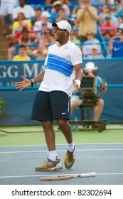 WASHINGTON - AUGUST 5: American Donald Young celebrates his victory over Marcos Baghdatis (CYP, not pictured) in the quarterfinals of the Legg Mason Tennis Classic on August 5, 2011 in Washington.