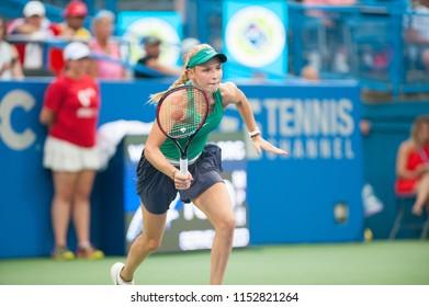 WASHINGTON – AUGUST 5: Donna Vekic (CRO) falls to Svetlana Kuznetsova (RUS) in the finals of the Citi Open tennis tournament on August 5, 2018 in Washington DC