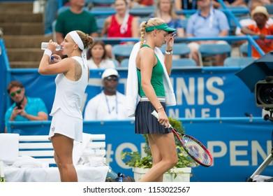 WASHINGTON – AUGUST 5: Donna Vekic (CRO) passes Svetlana Kuznetsova (RUS) in the finals of the Citi Open tennis tournament on August 5, 2018 in Washington DC. Kuznetsova took the championship.