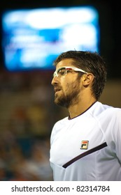 WASHINGTON - AUGUST 5: Janko Tipsarevic (SRB) is defeated by top seed Gael Monfils (FRA, not pictured) in the quarterfinals of the Legg Mason Tennis Classic on August 5, 2011 in Washington.