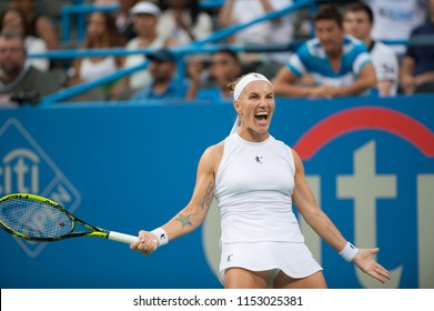 WASHINGTON – AUGUST 5: Svetlana Kuznetsova (RUS) reacts to defeating Donna Vekic (CRO) in the finals of the Citi Open tennis tournament on August 5, 2018 in Washington DC