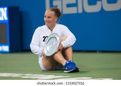 WASHINGTON – AUGUST 5: Svetlana Kuznetsova (RUS) holds her trophy after taking the women's championship at the Citi Open tennis tournament on August 5, 2018 in Washington DC