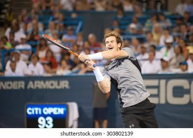 WASHINGTON AUGUST 5: Top seed Andy Murray falls to Teymuraz Gabashvili at the Citi Open tennis tournament on August 5, 2015 in Washington DC