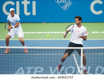 WASHINGTON – AUGUST 6: Lukasz Kubot and Marcel Melo lose the doubles championship to Henri Kontinen and John Peers (not pictured) at the Citi Open tennis tournament on August 6, 2017 in Washington DC