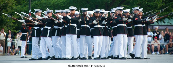 WASHINGTON AUGUST 6:  The Marine Corps Sunset Parade, featuring the Silent Drill Platoon, in the shadow of the Lincoln Memorial in Washington DC on August 6, 2019
