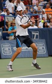 WASHINGTON - AUGUST 7: Ivo Karlovic (CRO) hits the ball at the Legg Mason Tennis Classic on August 7, 2009 in Washington. Karlovic was defeated by Andy Roddick (USA).