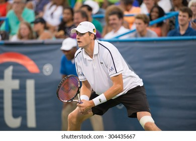 WASHINGTON - AUGUST 8: John Isner (USA) defeats fellow American Steve Johnson (not pictured) in the semifinal round of the Citi Open tennis tournament on August 8, 2015 in Washington DC