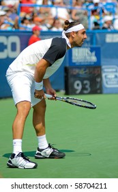WASHINGTON - AUGUST 8: Marcos Baghdatis (CYP) was defeated by David Nalbandian (ARG, not pictured) in the finals of the Legg Mason Tennis Classic on August 8, 2010 in Washington.