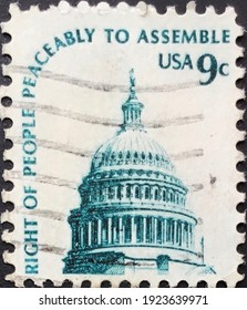 washington, circa 1977: used us postage stamp depicting the dome of the capitol.