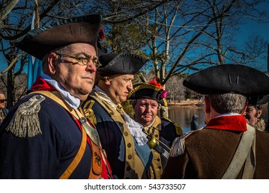 Washington Crossing, PA - December 25, 2016: Re-enactors as Revolutionary War soldiers at the annual re-enactment on the Delaware River.