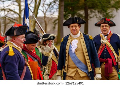 Washington Crossing, PA, USA - December 25, 2018: Reenactors gather at the Washington Crossing State Park to commemorate General George Washington's crossing the Delaware River in 1776.