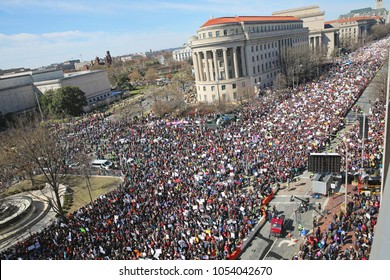 WASHINGTON, D. C., USA - MARCH 24, 2018: Anti-gun protestors demonstrate in historically huge March For Our Lives crowd on Pennsylvania Avenue in Washington, D. C. on March 24, 2018.