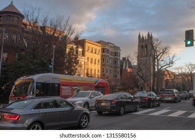 Washington, DC, 01 24 2019. Rush hour traffic in the early evening light on 16th Street NW, in  Washington, DC.