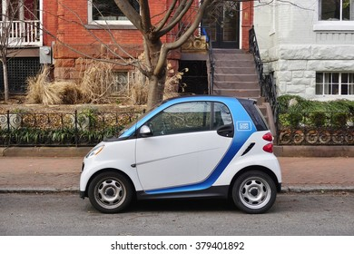 WASHINGTON, DC -19 FEB 2016- A Car2Go electric car in Washington DC. The subsidiary of Daimler provides carsharing services in Europe and North America. It rents exclusively Smart ForTwo cars.