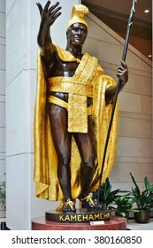 WASHINGTON DC -19 FEB 2016- The statue of King Kamehameha of Hawaii that used to be in the Statuary Hall in the US Capitol was moved in 2008 to Emancipation Hall in the visitor center.