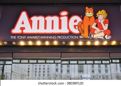 WASHINGTON DC -19 FEB 2016- The revival of the iconic musical Annie is playing at the National Theater in Washington, DC until March 20, 2016.