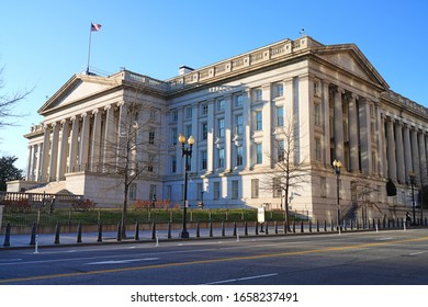 WASHINGTON, DC -21 FEB 2020- View of the U.S. Department of the Treasury (USDT) headquarters building in the United States capital.