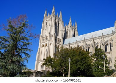 WASHINGTON, DC -23 FEB 2020- View of the Cathedral Church of Saint Peter and Saint Paul in the City and Diocese of Washington (Washington National Cathedral) in Washington, DC.