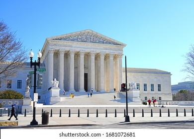 WASHINGTON, DC -23 FEB 2020- View of the Supreme Court of the United States in Washington, DC. The judiciary branch is presided by Chief Justice John Roberts.