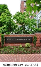 WASHINGTON, DC -25 MAY 2015- The Park Hyatt Washington is a luxury hotel located on 24th Street in Washington DC near Georgetown. Its restaurant The Blue Duck Tavern has won many awards.