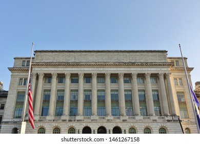 WASHINGTON, DC -4 APR 2019- View of the landmark United States Department of Agriculture (USDA) building (Jamie L. Whitten Building) in Washington, DC.