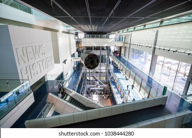 WASHINGTON, DC - 4 MARCH : Interior of Newseum in Washington, DC, the United States on 4 March, 2018