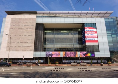 WASHINGTON, DC -6 APRIL 2019- View of the Newseum, an interactive museum about the evolution of communications and news located on Pennsylvania Avenue in the nation's capital.